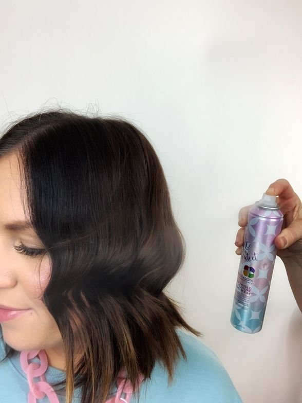 <p><strong>STEP 5: </strong>When all waves are complete, mist with <strong>Pureology Wind Tossed Texture Spray</strong> for shine and texture.&nbsp;</p>