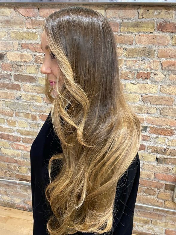 <p>MODERN SALON editor Alison Alhamed&#39;s 24-inch hair extension transformation, created with Great Lengths Cold Fusion method, custom-colored and applied by Ursula Sienko at Hair Fusion Bar in Chicago.</p>