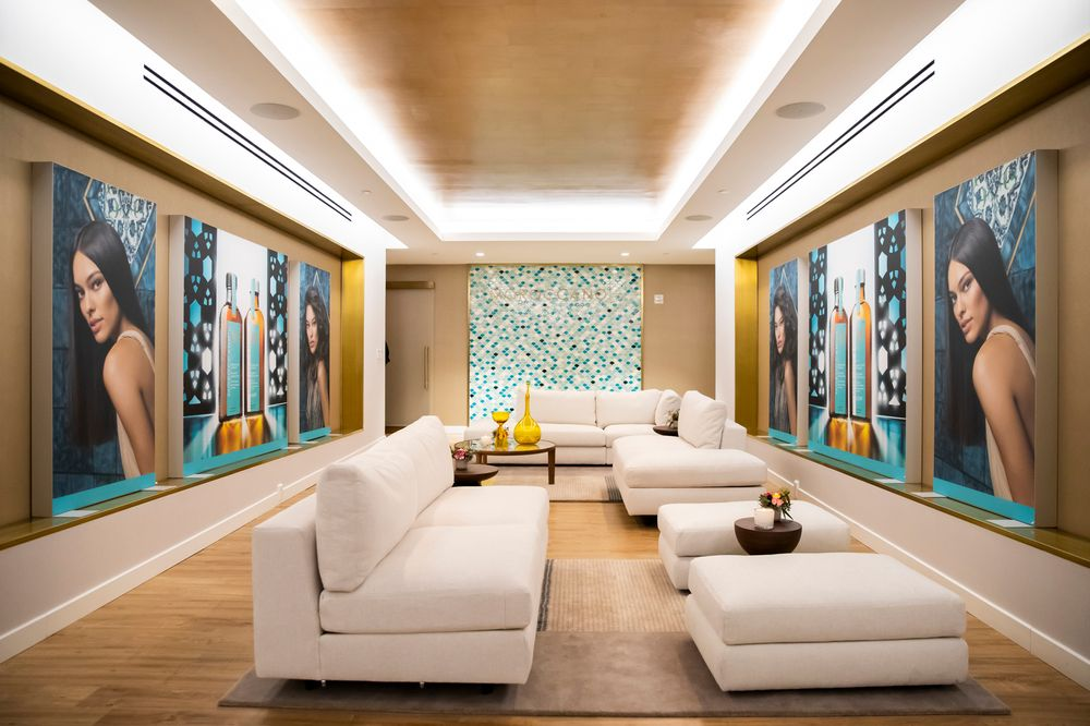 <p>The new <strong>Moroccanoil Academy</strong> design incorporates sleek gold fixtures, a gold-leaf ceiling treatment, and custom mosaics purposefully sourced from eco-sustainable materials.</p>