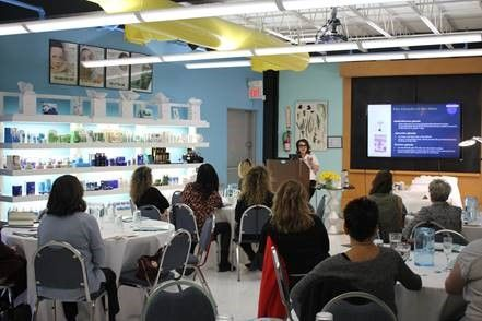 <p><em>Lydia Sarfati presenting the science and history of facial massage, best practices, techniques, and methods, during her class &ldquo;The Best Facial Massage&rdquo; held at Rep&ecirc;chage&reg; Headquarters on 3/9/2020</em></p>
