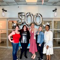 CELEBRATING TOGETHER: Jessica Sikes, Vicki Griffin, Heather Safrit, Laura Brooks and LaDonna...