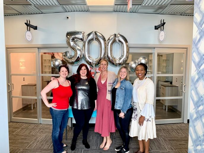 CELEBRATING TOGETHER: Jessica Sikes, Vicki Griffin, Heather Safrit, Laura Brooks and LaDonna Dryer celebrate the 500th Sola Salon Studio opening at The Crossings at Godley Station in Pooler, GA.