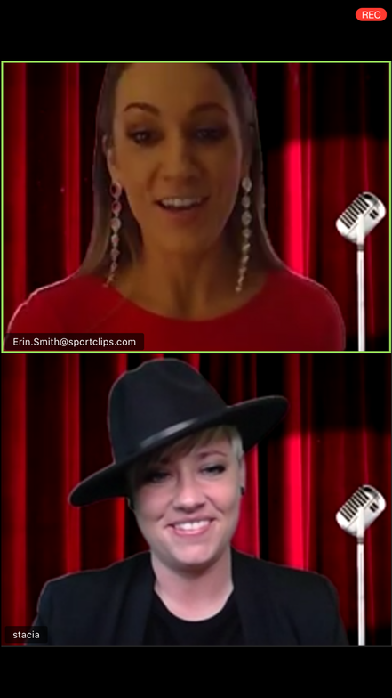 <p><em><strong>Erin Smith and Stacia Kelley served as the ZOOM &quot;red carpet&quot; hosts</strong></em></p>