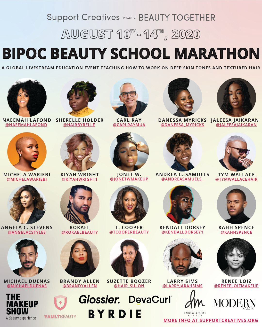 Support Creatives Announces Live Education with Celebrity Artists on Working with Deep Skin Tones, Textured Hair