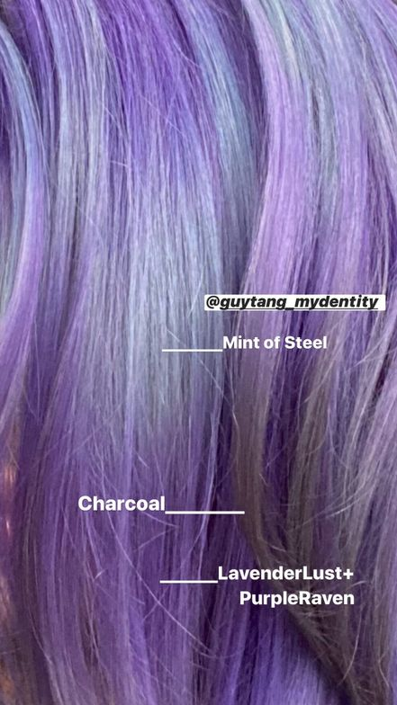 "<ul> <li>Lavender Lob <ul style=""list-style-type:circle;""> <li>Rootage: Charcoal + Purple Raven Direct Dyes</li> <li>Mids-Ends: Alternated colormelt with Mint of Steel, Purple Raven &amp; Charcoal Direct Dyes</li> </ul> </li> </ul>"