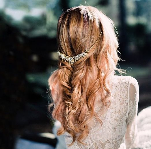 This bridesmaid style by NAHA-winning master stylist Danielle Keasling, uses curls and a fishtail for a boho-look.