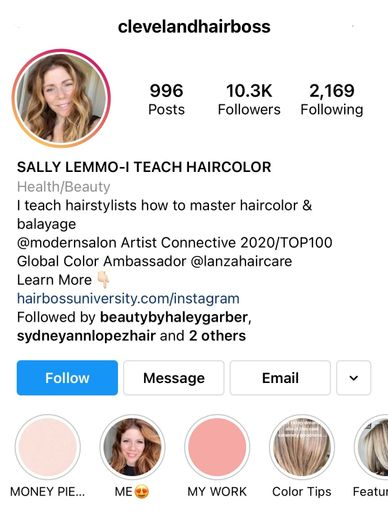 @clevelandhairboss has tailored her bio to represent her work as an hair color educator and expert.   -