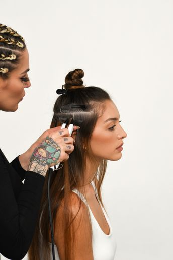 Vicki Casciola, Hairtalk Global Artistic Director, says clients who like to wear their hair up, or are struggling with fine hair on high-visibility areas of their head, will love Keratin strand-by-strands.  -