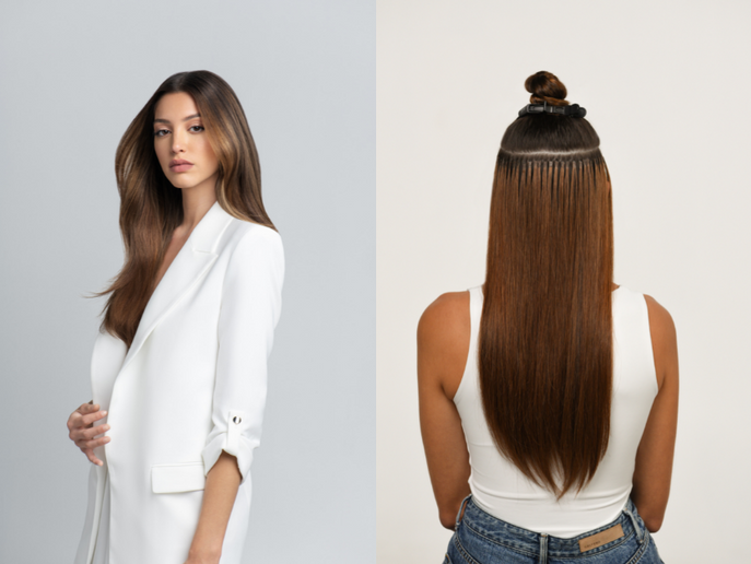 New Keratin strand-by-strand extensions from hairtalk® allow for total customization with 3-5 months of comfortable wear time and a discreet, undetectable bond.  -