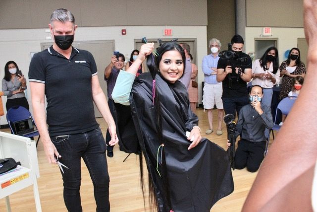 <p>Over five feet of hair to be donated.&nbsp;</p>