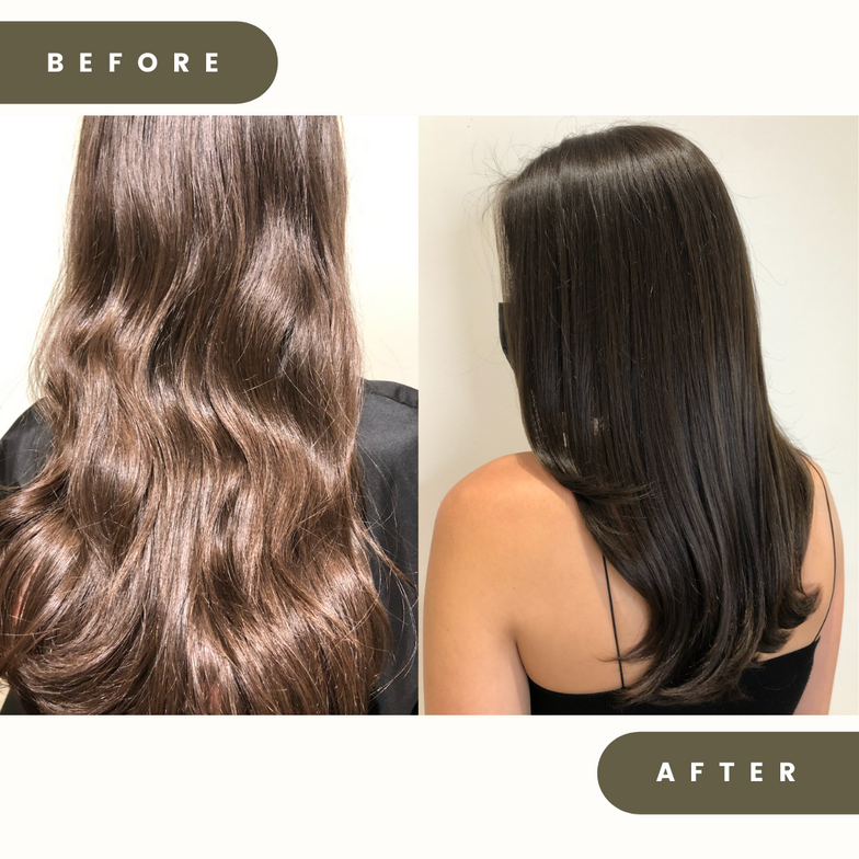 <p>Before and after from @sgoguenhair</p>