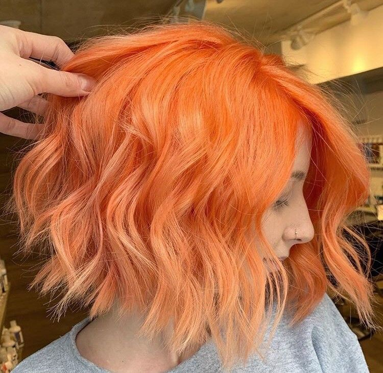 <p>Orange you glad Ashley Brown (@a.b.hair)can serve up major hair goals like this textured bob?</p>