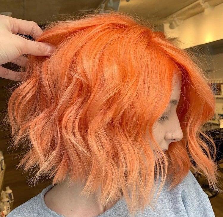 <p>Orange you glad Ashley Brown (@a.b.hair)can serve up major hair goals like this textured bob?</p>