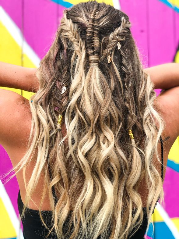 <p>Alicia Webb created a root smudge on a partial highlight. She created an infinity braid, slowly adding in more hair to create a half up half down look. She added multiple fishtail braids and pulled them out, then waved hair with a flat iron, leaving out the ends for a beachy look.</p>