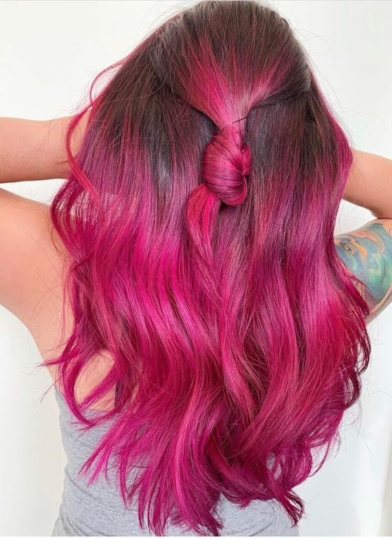 <p>To create this magenta perfection,<br /> @kinganthonyyyy chose to use Matrix SoColor<br /> Cult in the shades Flamenco Fuschia, Blooming<br /> Orchid and Royal Purple.</p>
