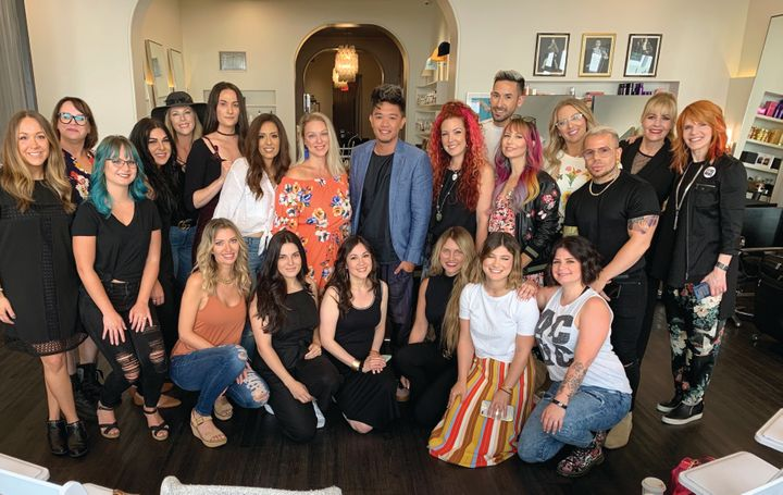 The group with Mark Bustos at Eva Scrivo Salon.