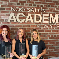 The 2019 Goldwell Color Zoom National winners, from left: Sarajane Maples, Kylie Bussing and...