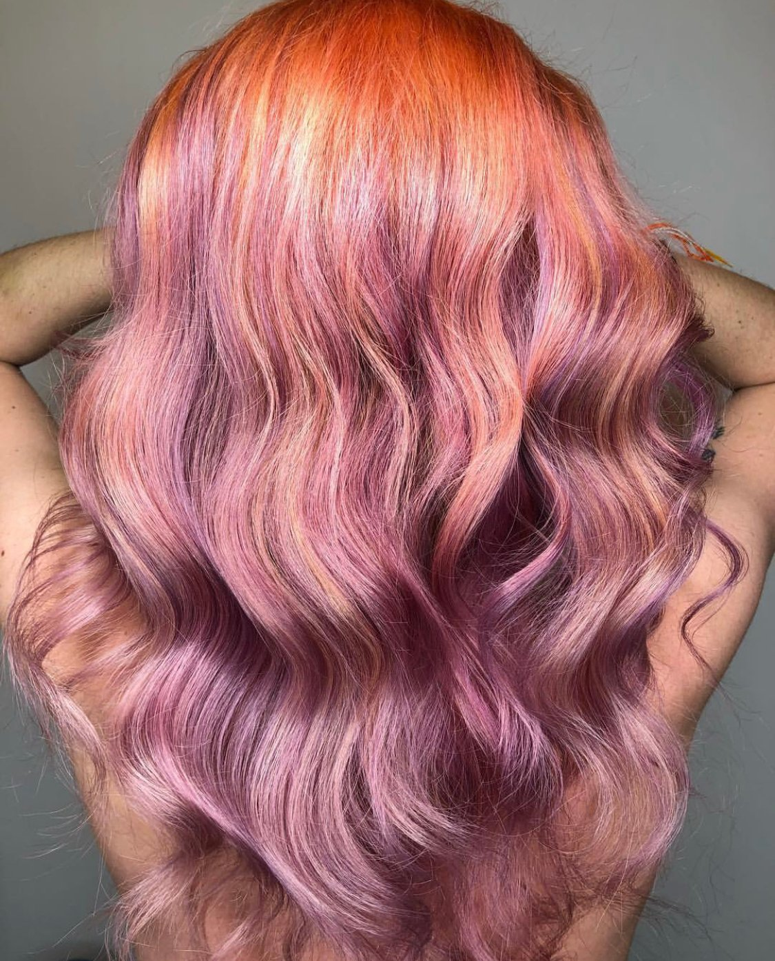 Peach and Lavender Color Melt Using Goldwell Pure Pigments
