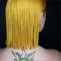 Kristi Waldrop used Goldwell @Pure Pigments in her color formulation to create a vibrant yellow...
