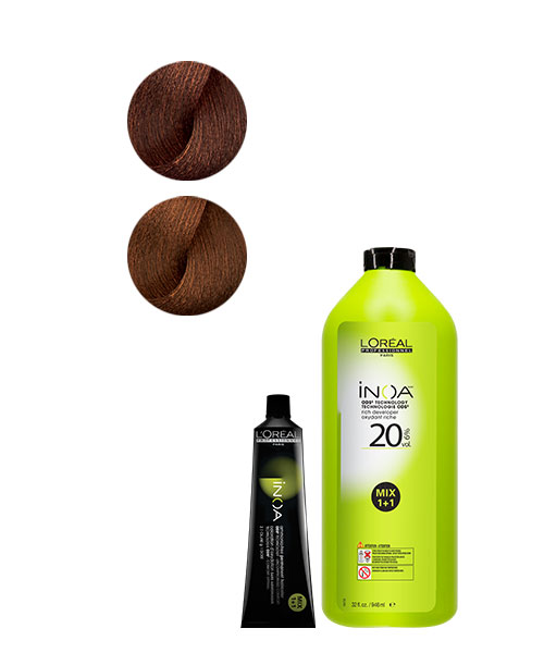 <p><strong>Formula: Mix equal parts INOA 5.4/5C and INOA 5.45/5CRv with 20-volume INOA Rich Developer until smooth and creamy.</strong></p>