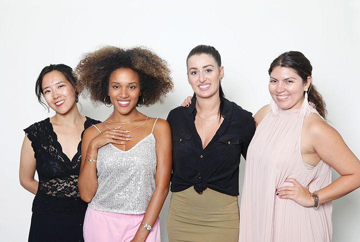 NAILS art director Yuiko Sugino, model Talia Wray, cover tech Stephanie Fountain, and executive editor Beth Livesay  -