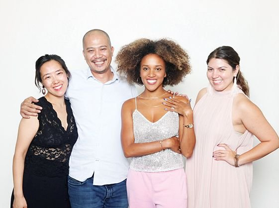 From left: NAILS art director Yuiko Sugino,  cover tech Vu Nguyen, model Talia Wray, and NAILS executive editor Beth Livesay  -
