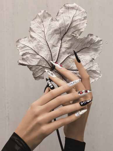 Nails by Shirley Cheng based on Edgy Illumination using Geometric Flat Back shapes
