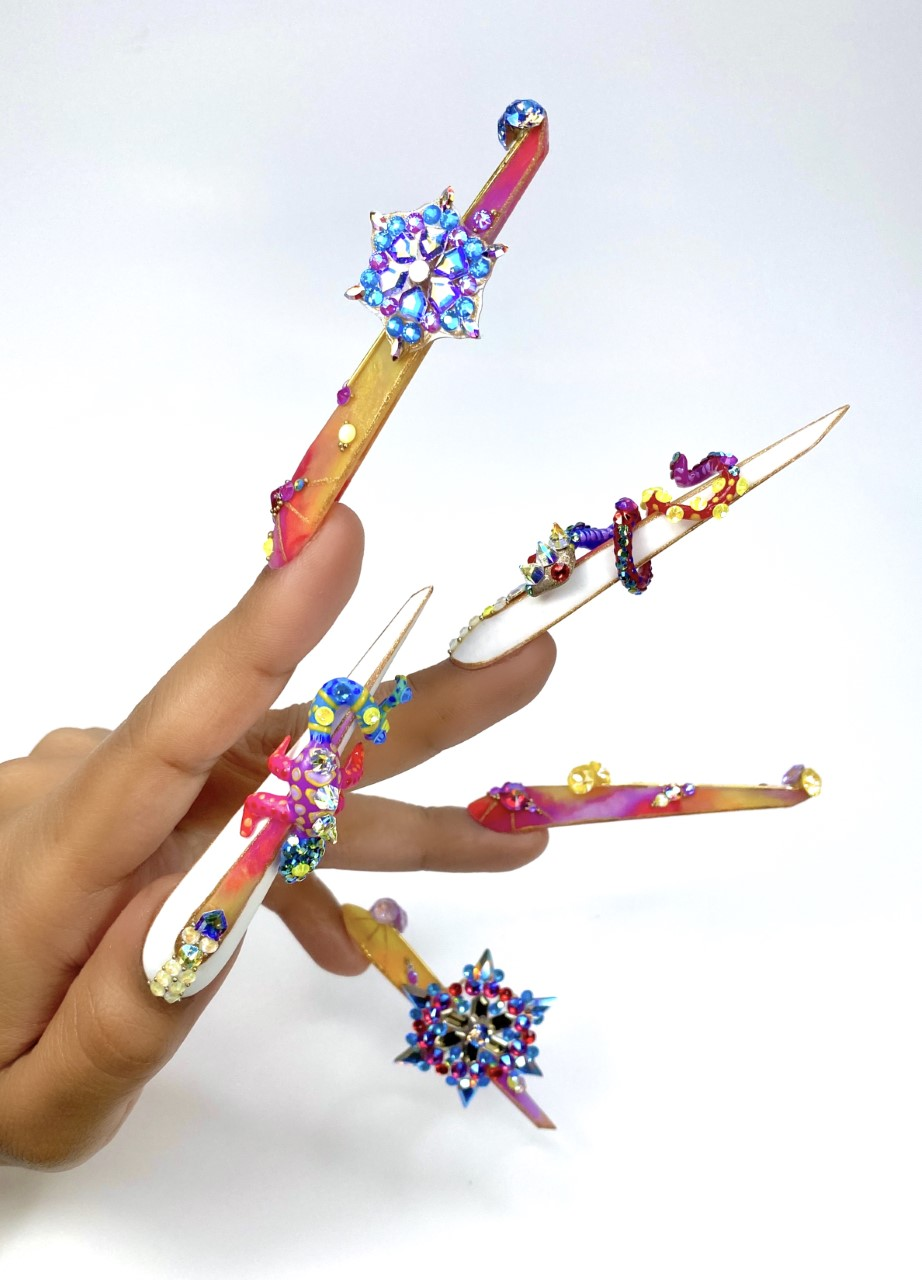 NTNA S.7 Challenge 8: Embellished Tie-Dye Nail Art (Giselle)
