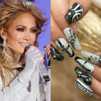 J-Lo's Sparkles in OPI Black & White Blinged Out Nails for New Year's