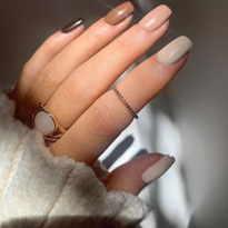 TGB Brand Ambassador @gelsbybry wears (from pinky to thumb) Mocha, Brunette, Cookie, Almond, and...