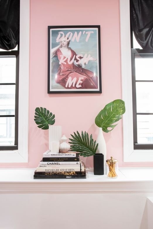 <p><em>Designed and curated by interior designer, Sarah Pipps, of PIP Interiors, the tropical chic oasis features pink, black and emerald-green d&eacute;cor.&nbsp;</em></p>