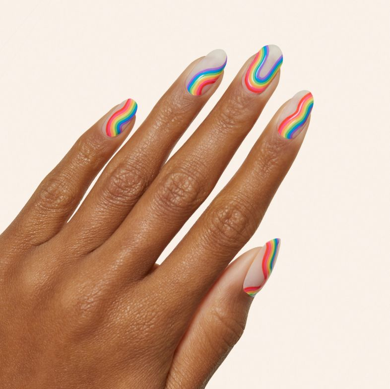 <p>Can You Believe?&nbsp;It&rsquo;s time to get groovy with this retro, wavy rainbow mani. The curvy rainbow motif pops on a sheer background.</p>
