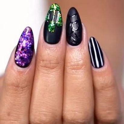 Halloween How-To: Beetlejuice Nail Design