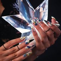 Floral Gel Stiletto Nails and Line Art for Fall