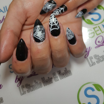 Day 292: Spiderweb and Feather Nail Art