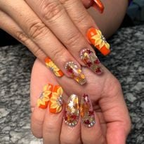 Day 301: Fall Leaves and Flowers Nail Art
