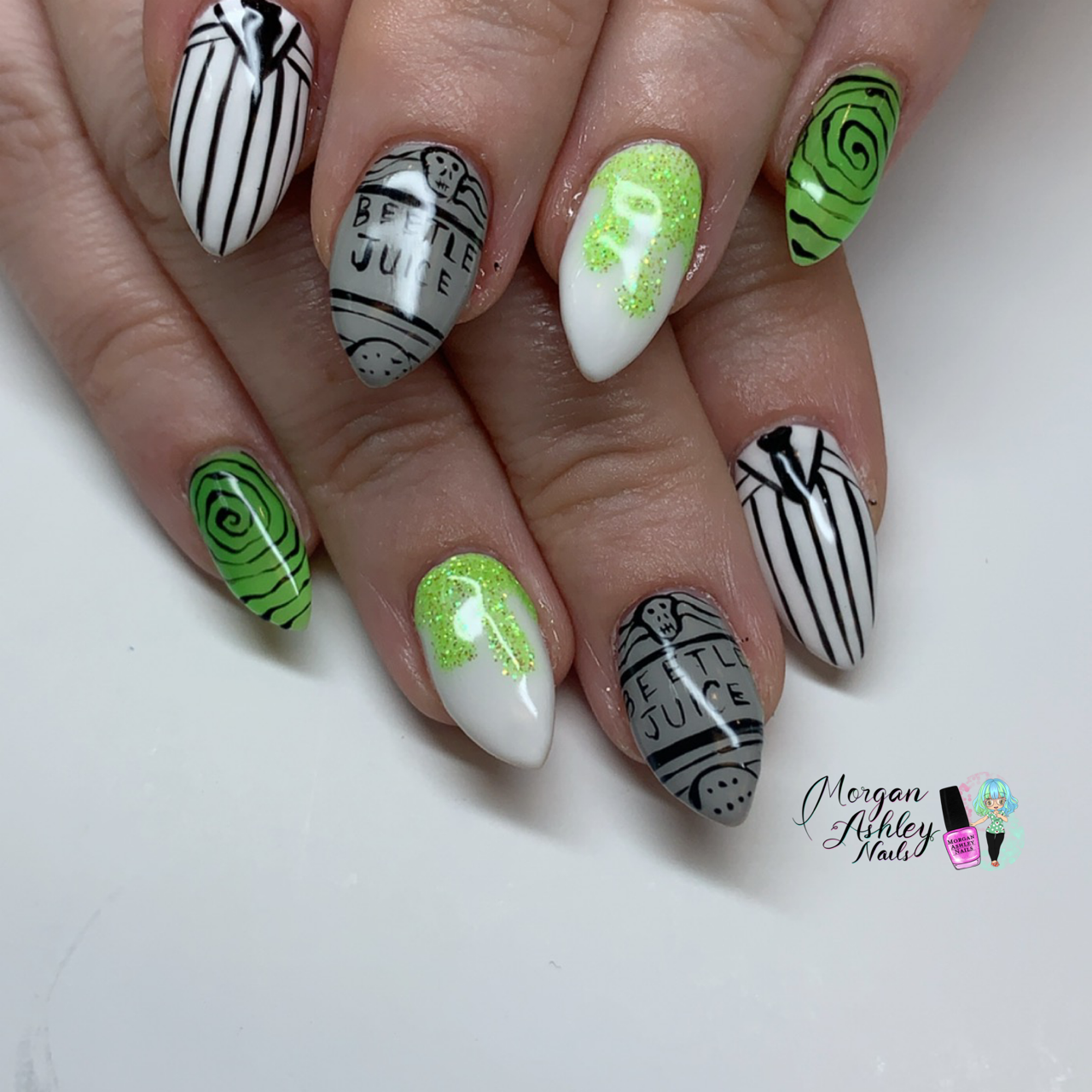 Day 304: Beetlejuice and Nightmare Nail Art