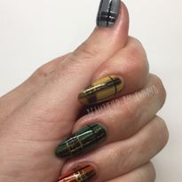 Day 305: Autumn Plaid Nail Art