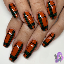 Day 308: Orange Plaid Nail Art