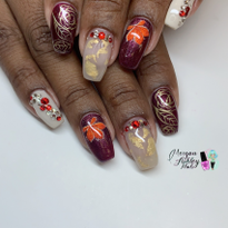Day 317: Fall Leaves and Roses Nail Art