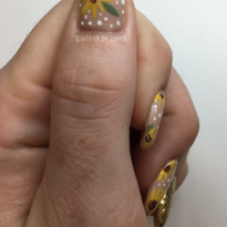 Day 321: Sunflowers and Vines Nail Art