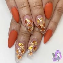 Day 323: Gold Leaves Nail Art
