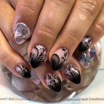 Day 324: Marble and Floral Fade Nail Art