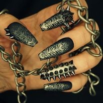 Day 329: Dragon and Punk Rock Nail Art