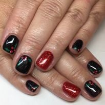 Day 354: Snow Dusted Holly Nail Art