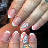 Day 190: Summer Marble and French Twist Nail Art