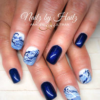 Day 218: Ocean Wave Nail Art