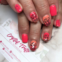 Day 224: Summer Palm Trees and Fall Leaves Nail Art