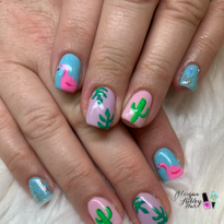 Day 227: Flamingo and Cactus Nail Art