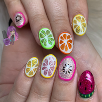 Day 230: Sparkly Fruit Nail Art